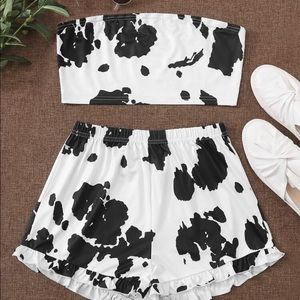 Cow Print Bandeau With Frill Hem Shorts
